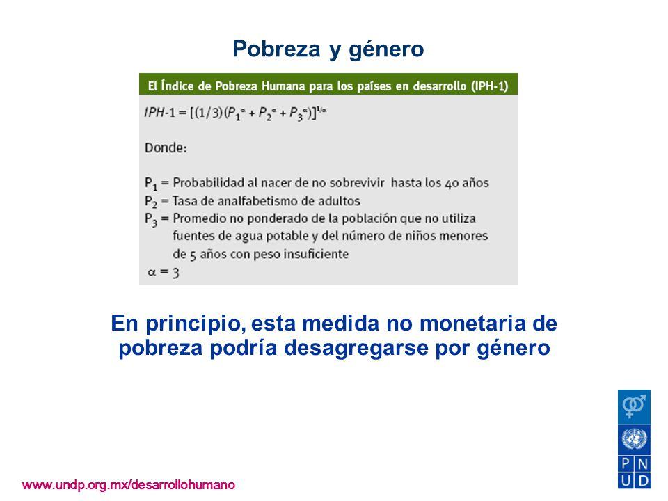 Pobreza y género www.undp.org.mx/desarrollohumano En principio, esta medida no monetaria de pobreza podría desagregarse por género