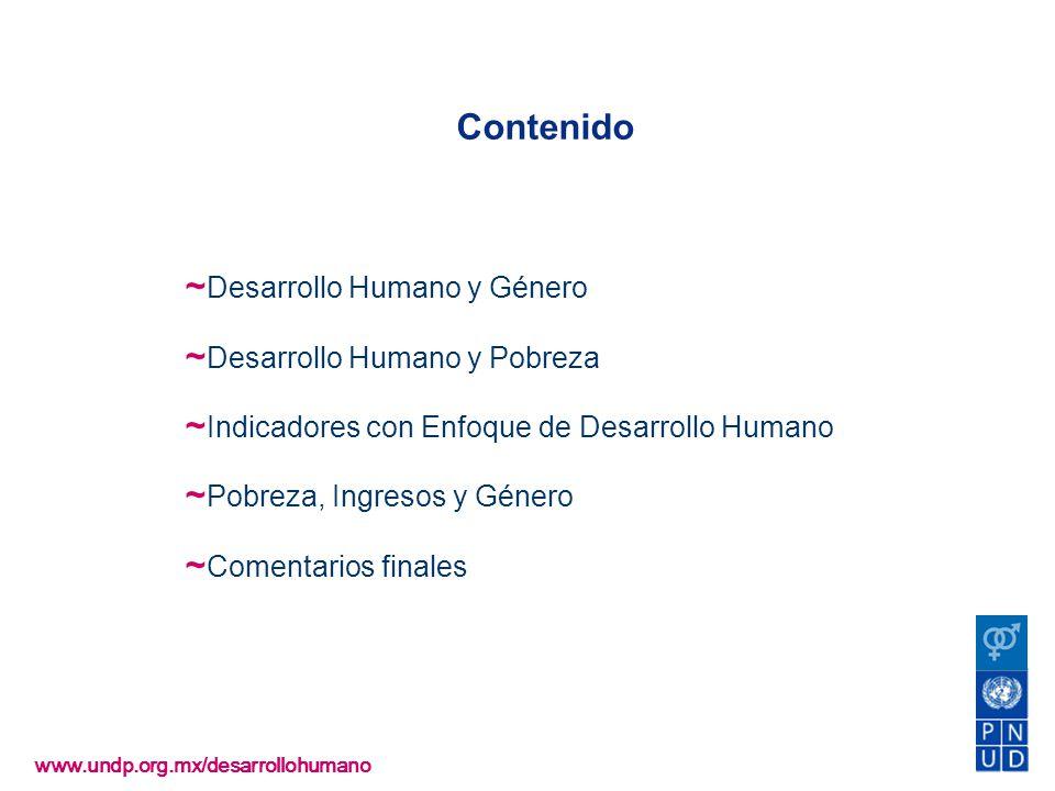 www.undp.org.mx/desarrollohumano El IDG permitiría guiar la asignación de gasto para el desarrollo con equidad de género Desarrollo Humano y género