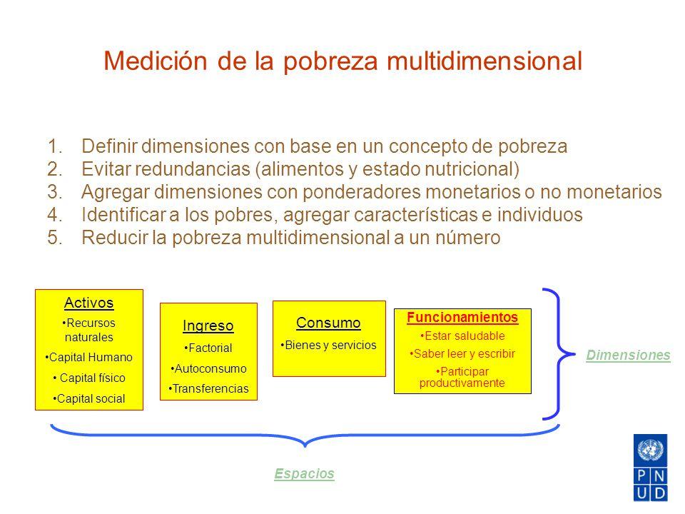 Activos Recursos naturales Capital Humano Capital físico Capital social Ingreso Factorial Autoconsumo Transferencias Consumo Bienes y servicios Funcio
