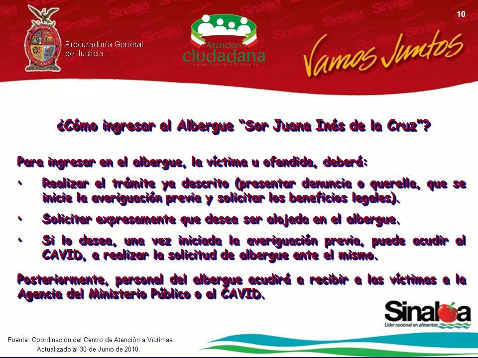 Actualizado al 30 de Junio de 2010. Fuente: Coordinación del Centro de Atención a Víctimas 10 ¿Cómo ingresar al Albergue Sor Juana Inés de la Cruz? Po