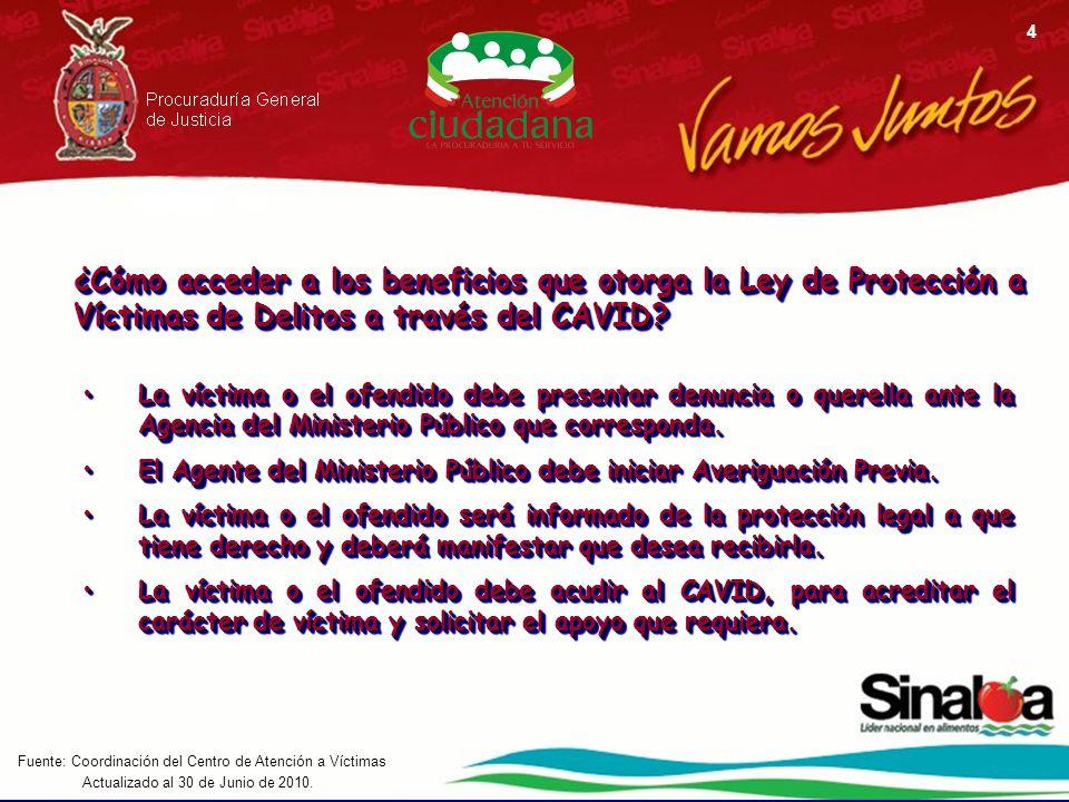 Actualizado al 30 de Junio de 2010. Fuente: Coordinación del Centro de Atención a Víctimas 4 ¿Cómo acceder a los beneficios que otorga la Ley de Prote