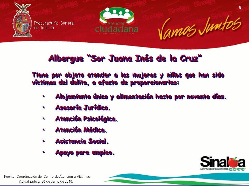 Actualizado al 30 de Junio de 2010. Fuente: Coordinación del Centro de Atención a Víctimas 8 Albergue Sor Juana Inés de la Cruz Tiene por objeto atend