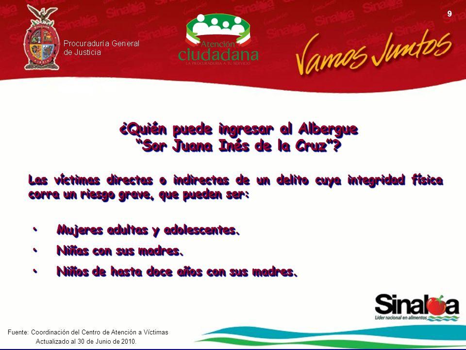 Actualizado al 30 de Junio de 2010. Fuente: Coordinación del Centro de Atención a Víctimas 9 ¿Quién puede ingresar al Albergue Sor Juana Inés de la Cr