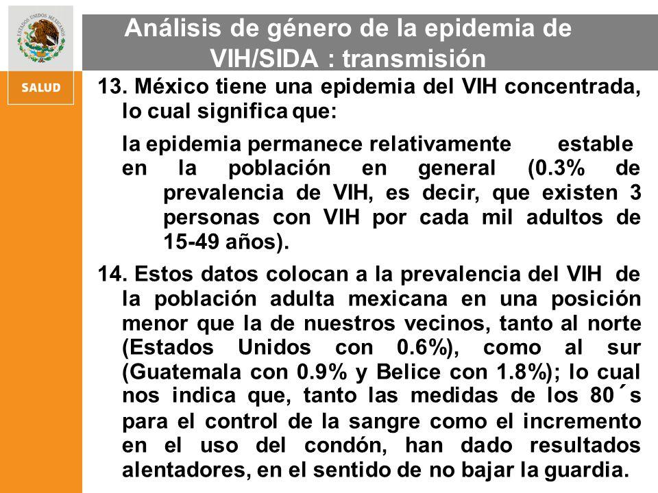 13. México tiene una epidemia del VIH concentrada, lo cual significa que: la epidemia permanece relativamente estable en la población en general (0.3%