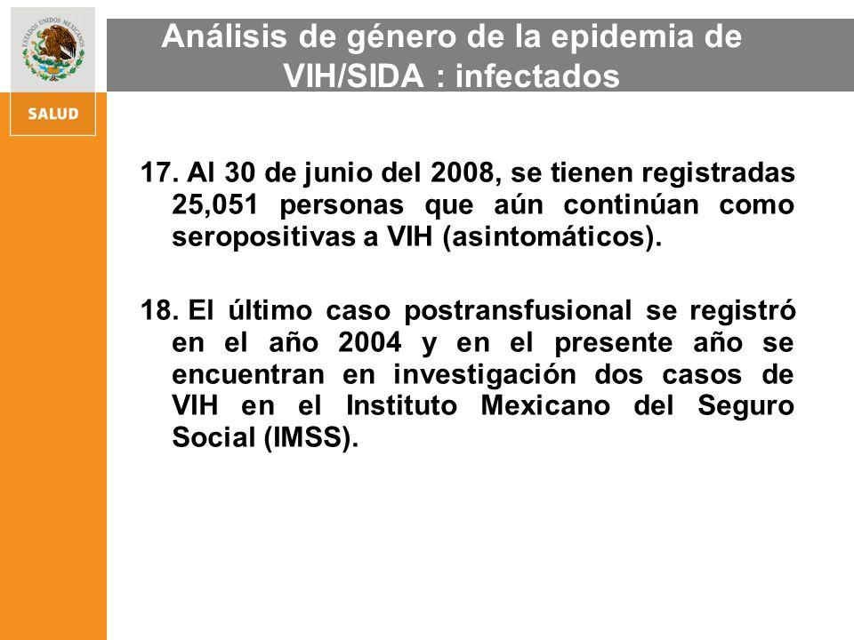 17. Al 30 de junio del 2008, se tienen registradas 25,051 personas que aún continúan como seropositivas a VIH (asintomáticos). 18. El último caso post