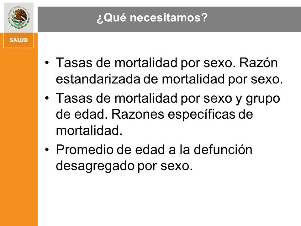 Tasas de mortalidad por sexo. Razón estandarizada de mortalidad por sexo. Tasas de mortalidad por sexo y grupo de edad. Razones específicas de mortali