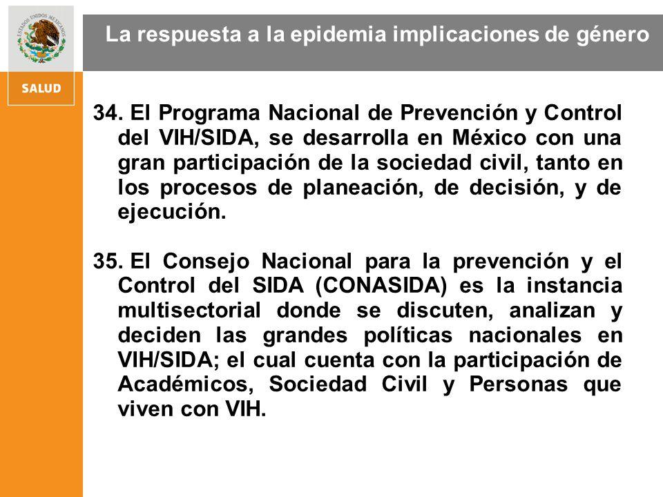 34. El Programa Nacional de Prevención y Control del VIH/SIDA, se desarrolla en México con una gran participación de la sociedad civil, tanto en los p
