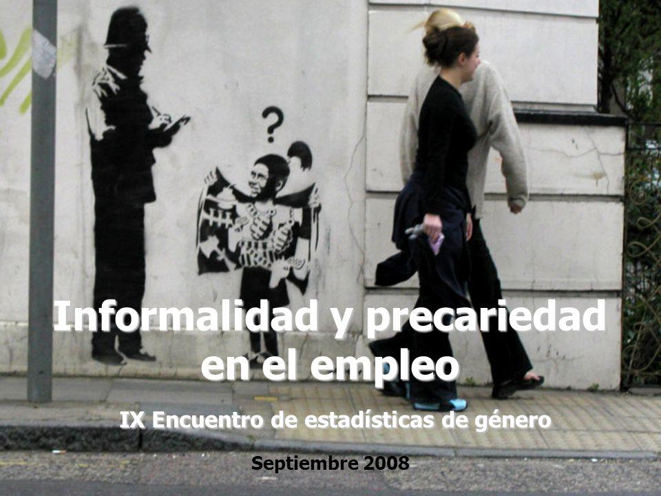 Informalidad y precariedad en el empleo IX Encuentro de estadísticas de género Septiembre 2008