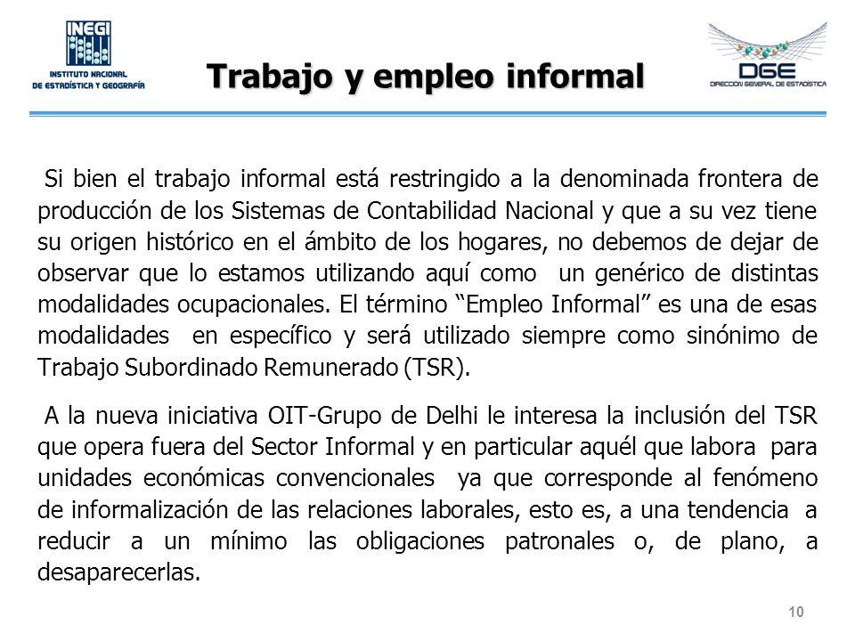 Trabajo y empleo informal Si bien el trabajo informal está restringido a la denominada frontera de producción de los Sistemas de Contabilidad Nacional