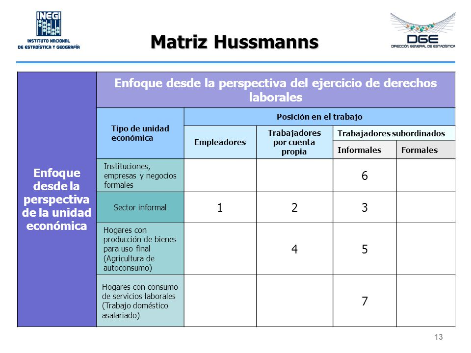 Matriz Hussmanns 13 Enfoque desde la perspectiva de la unidad económica Enfoque desde la perspectiva del ejercicio de derechos laborales Tipo de unida