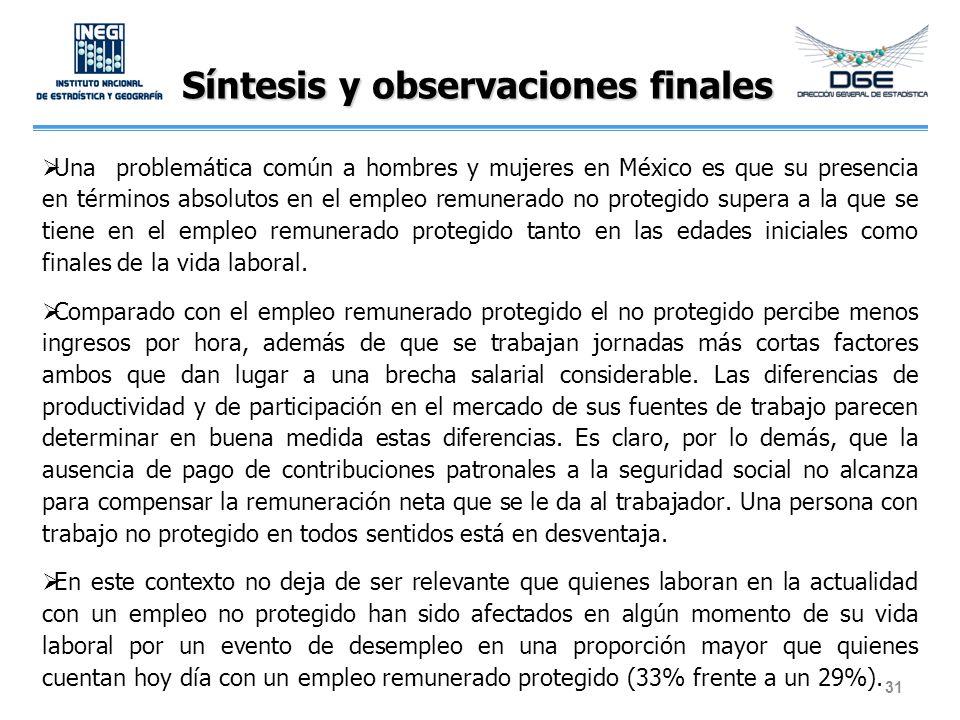 Síntesis y observaciones finales Una problemática común a hombres y mujeres en México es que su presencia en términos absolutos en el empleo remunerad