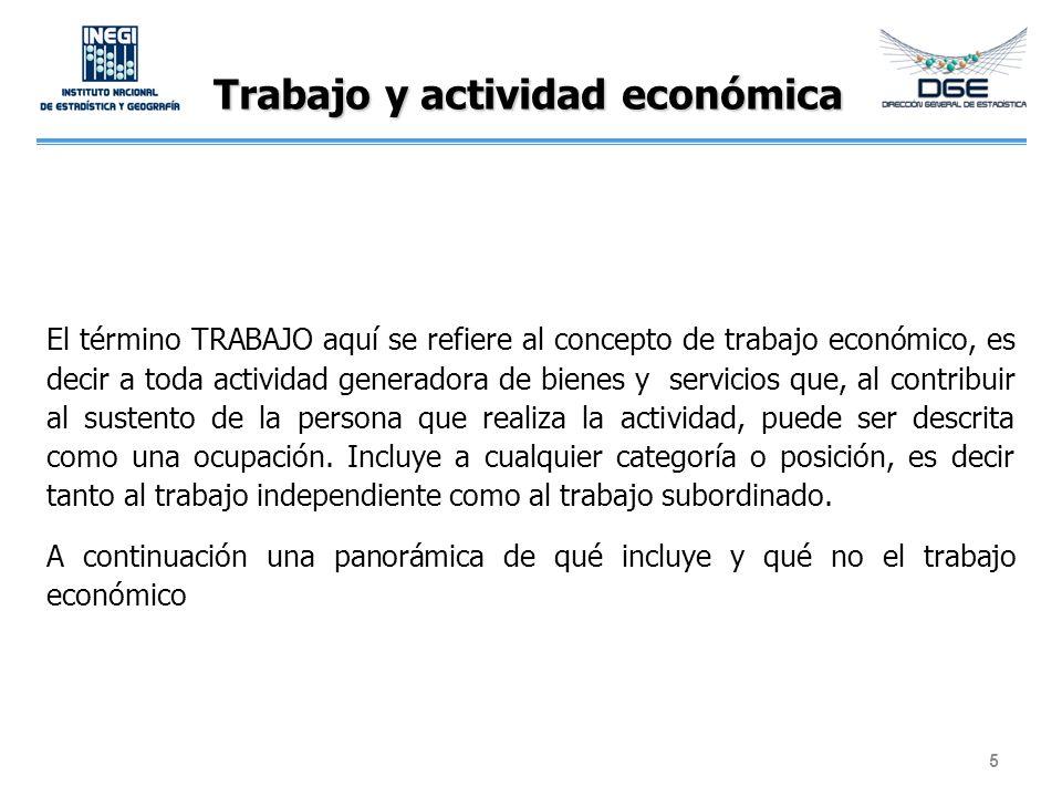Trabajo y actividad económica El término TRABAJO aquí se refiere al concepto de trabajo económico, es decir a toda actividad generadora de bienes y se