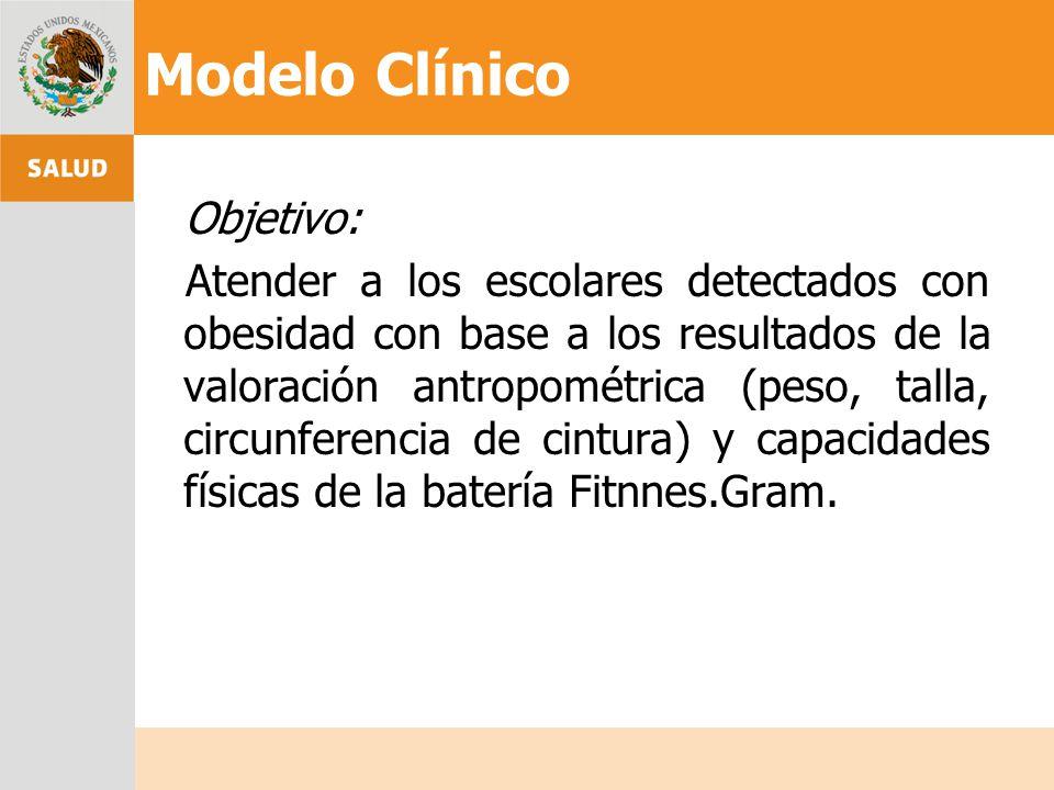 Objetivo: Atender a los escolares detectados con obesidad con base a los resultados de la valoración antropométrica (peso, talla, circunferencia de ci