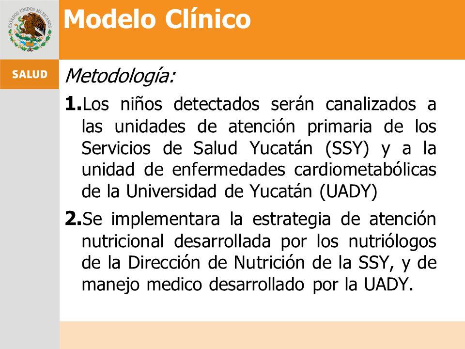 Metodología: 1. Los niños detectados serán canalizados a las unidades de atención primaria de los Servicios de Salud Yucatán (SSY) y a la unidad de en