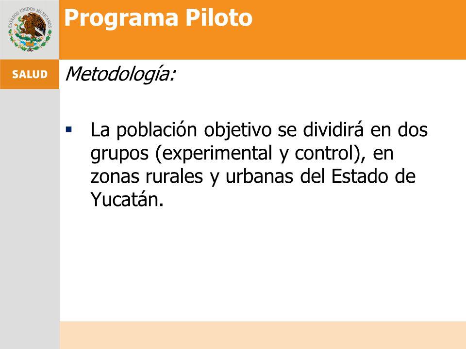 Metodología: La población objetivo se dividirá en dos grupos (experimental y control), en zonas rurales y urbanas del Estado de Yucatán. Programa Pilo
