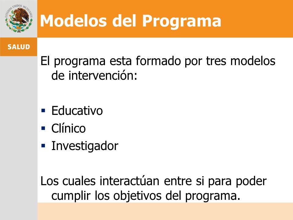 Modelos del Programa El programa esta formado por tres modelos de intervención: Educativo Clínico Investigador Los cuales interactúan entre si para po