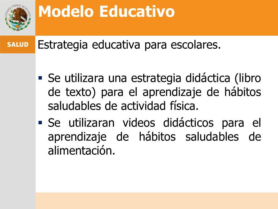 Estrategia educativa para escolares. Se utilizara una estrategia didáctica (libro de texto) para el aprendizaje de hábitos saludables de actividad fís
