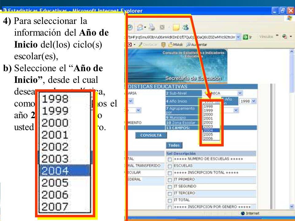 4) Para seleccionar la información del Año de Inicio del(los) ciclo(s) escolar(es), b) Seleccione el Año de Inicio, desde el cual desea ver la estadística, como ejemplo elegimos el año 2004, sin embargo usted puede elegir otro.