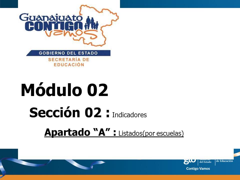 Módulo 02 Sección 02 : Indicadores Apartado A : Listados(por escuelas)