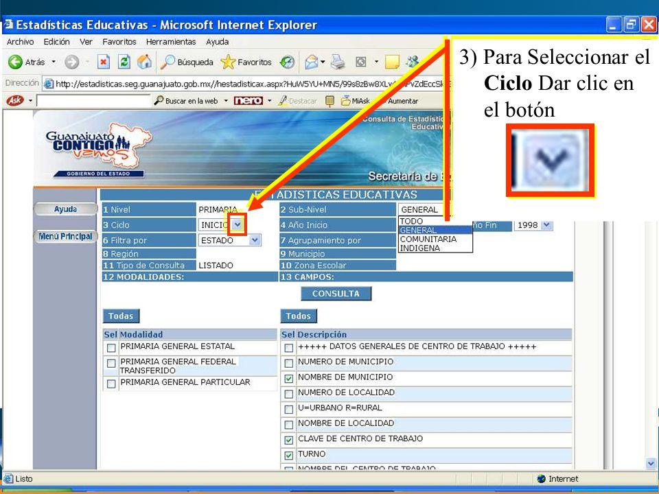 8) Para Seleccionar el Municipio a) Dar clic en el botón 8) Para Seleccionar el Municipio a) Dar clic en el botón