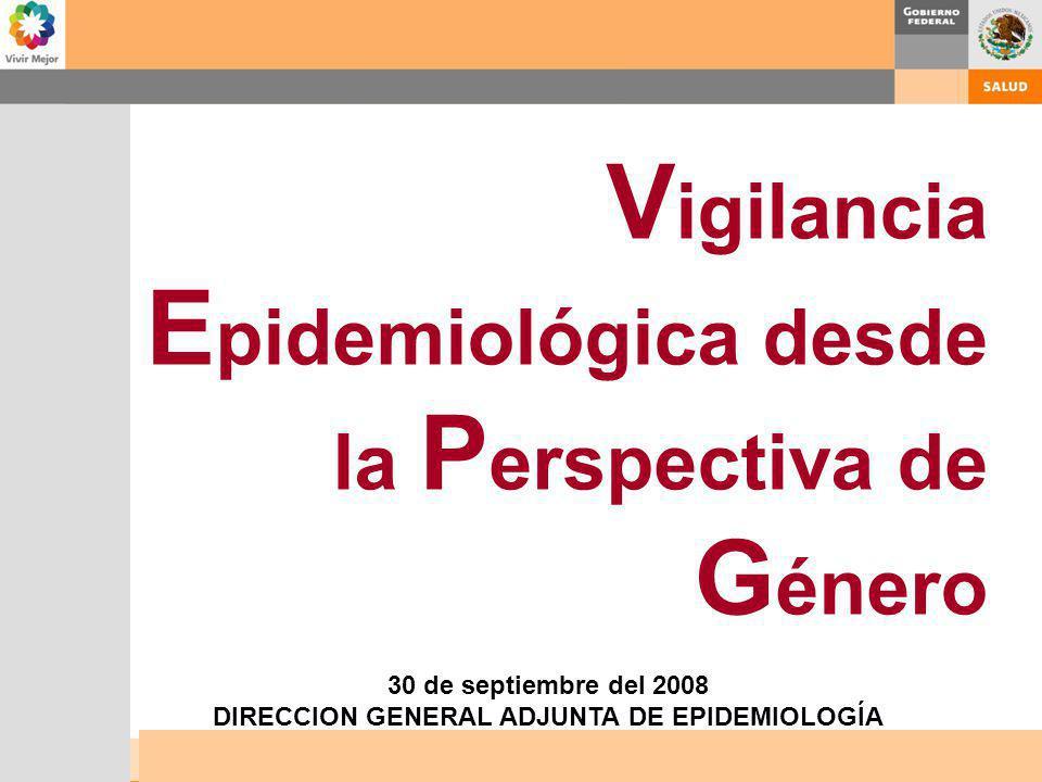 V igilancia E pidemiológica desde la P erspectiva de G énero 30 de septiembre del 2008 DIRECCION GENERAL ADJUNTA DE EPIDEMIOLOGÍA