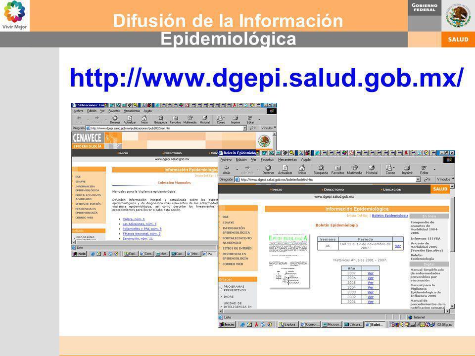 Difusión de la Información Epidemiológica http://www.dgepi.salud.gob.mx/