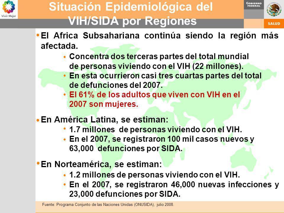 El Africa Subsahariana continúa siendo la región más afectada. Concentra dos terceras partes del total mundial de personas viviendo con el VIH (22 mil