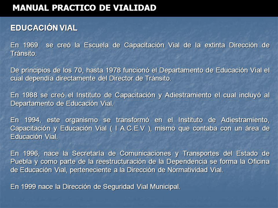 EDUCACIÓN VIAL En 1969 se creó la Escuela de Capacitación Vial de la extinta Dirección de Tránsito.