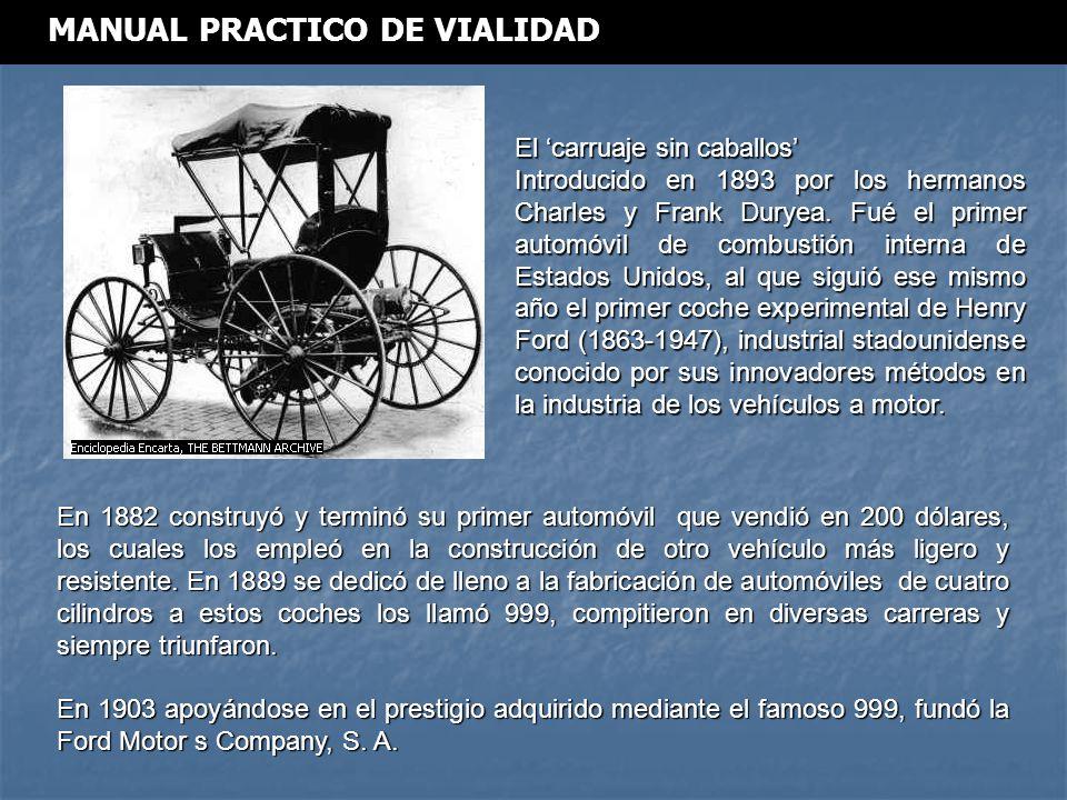 El carruaje sin caballos Introducido en 1893 por los hermanos Charles y Frank Duryea.
