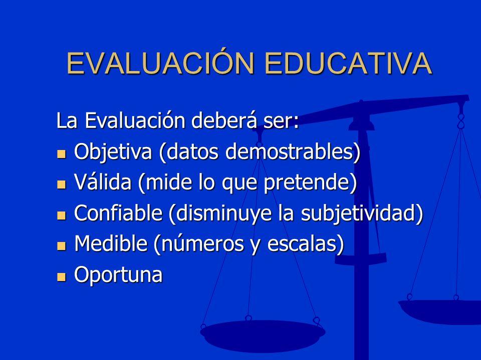 EVALUACIÓN EDUCATIVA La Evaluación deberá ser: Objetiva (datos demostrables) Objetiva (datos demostrables) Válida (mide lo que pretende) Válida (mide