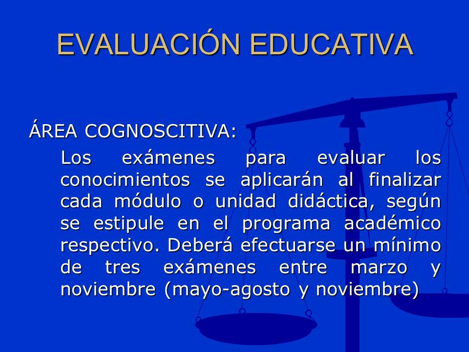 EVALUACIÓN EDUCATIVA ÁREA COGNOSCITIVA: Los exámenes para evaluar los conocimientos se aplicarán al finalizar cada módulo o unidad didáctica, según se