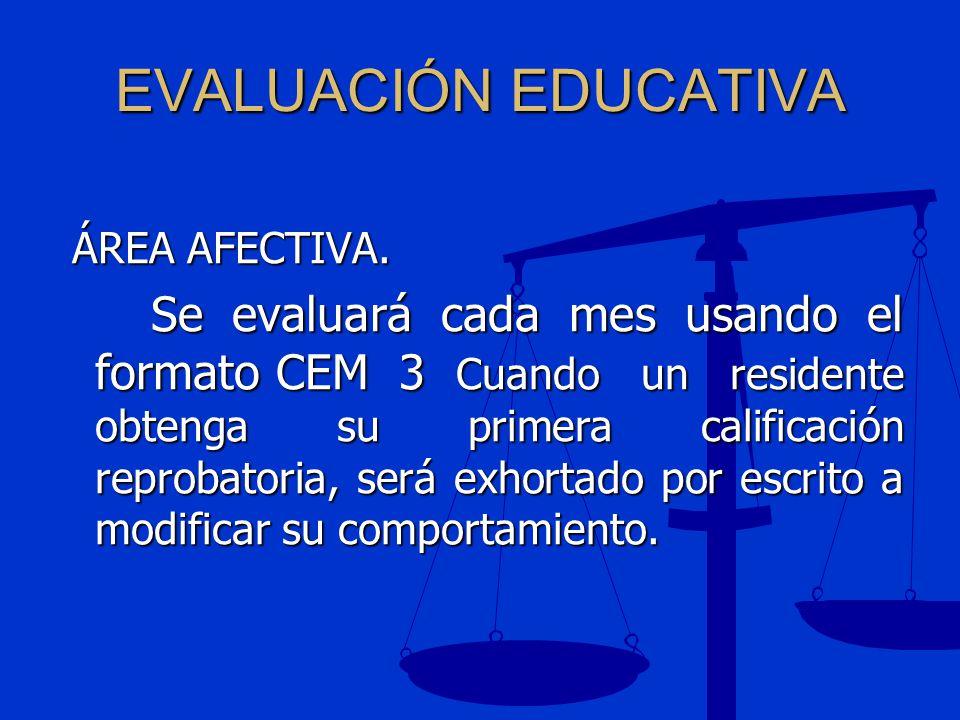 EVALUACIÓN EDUCATIVA ÁREA AFECTIVA. ÁREA AFECTIVA. Se evaluará cada mes usando el formato CEM 3 Cuando un residente obtenga su primera calificación re