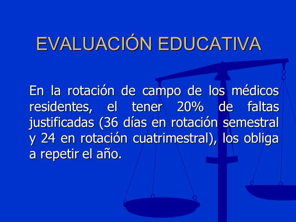 EVALUACIÓN EDUCATIVA En la rotación de campo de los médicos residentes, el tener 20% de faltas justificadas (36 días en rotación semestral y 24 en rot