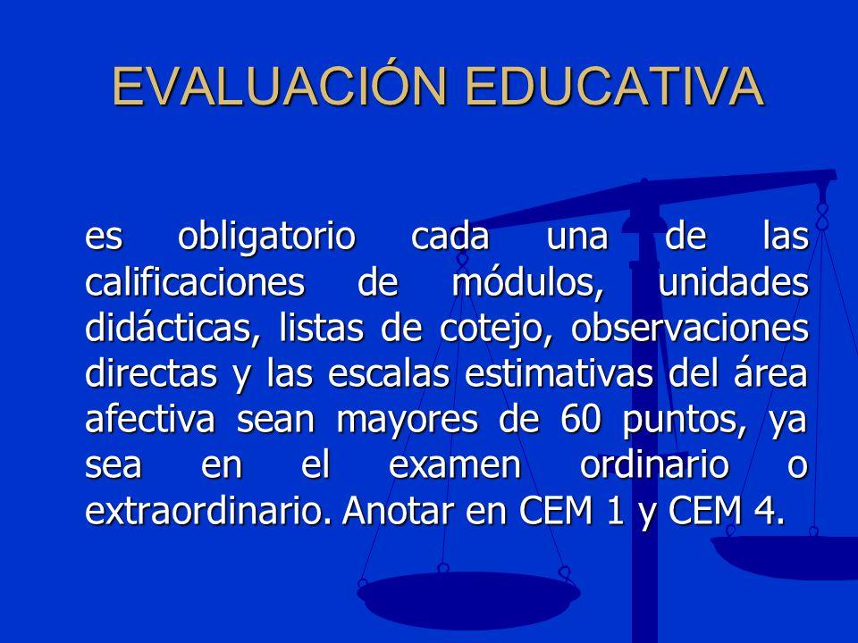 EVALUACIÓN EDUCATIVA es obligatorio cada una de las calificaciones de módulos, unidades didácticas, listas de cotejo, observaciones directas y las esc