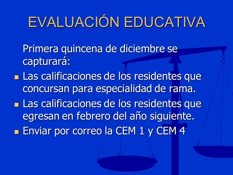 EVALUACIÓN EDUCATIVA Primera quincena de diciembre se capturará: Las calificaciones de los residentes que concursan para especialidad de rama. Las cal