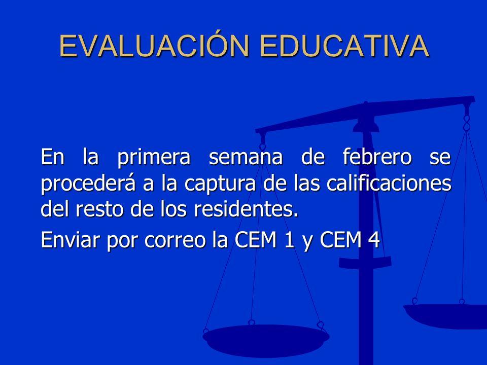EVALUACIÓN EDUCATIVA En la primera semana de febrero se procederá a la captura de las calificaciones del resto de los residentes. Enviar por correo la