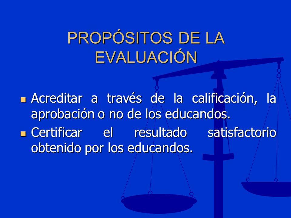 PROPÓSITOS DE LA EVALUACIÓN Acreditar a través de la calificación, la aprobación o no de los educandos. Acreditar a través de la calificación, la apro