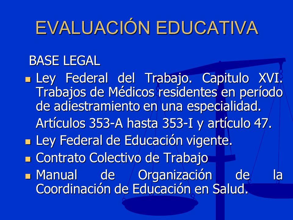 EVALUACIÓN EDUCATIVA BASE LEGAL BASE LEGAL Ley Federal del Trabajo. Capitulo XVI. Trabajos de Médicos residentes en período de adiestramiento en una e