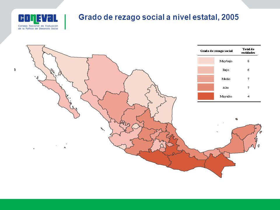 Grado de rezago social a nivel estatal, 2005