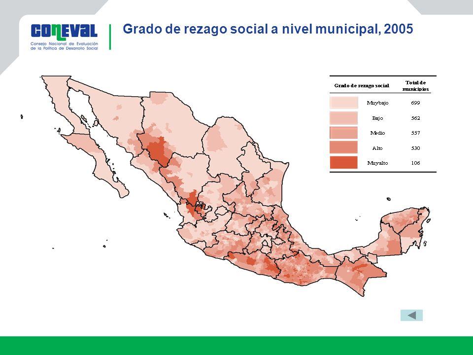 Grado de rezago social a nivel municipal, 2005