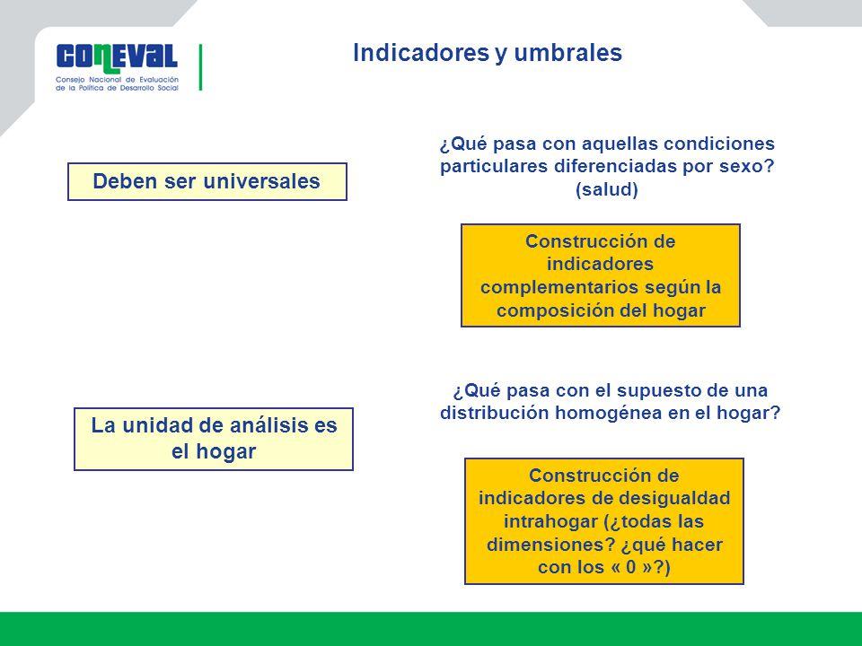 Indicadores y umbrales Construcción de indicadores complementarios según la composición del hogar ¿Qué pasa con aquellas condiciones particulares diferenciadas por sexo.