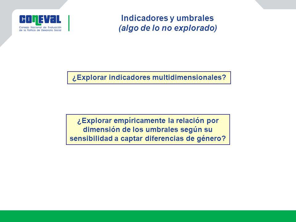 Indicadores y umbrales (algo de lo no explorado) ¿Explorar indicadores multidimensionales? ¿Explorar empíricamente la relación por dimensión de los um