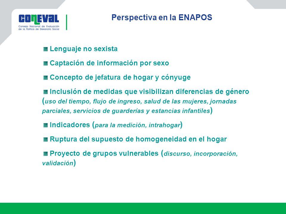 Perspectiva en la ENAPOS Lenguaje no sexista Captación de información por sexo Concepto de jefatura de hogar y cónyuge Inclusión de medidas que visibi
