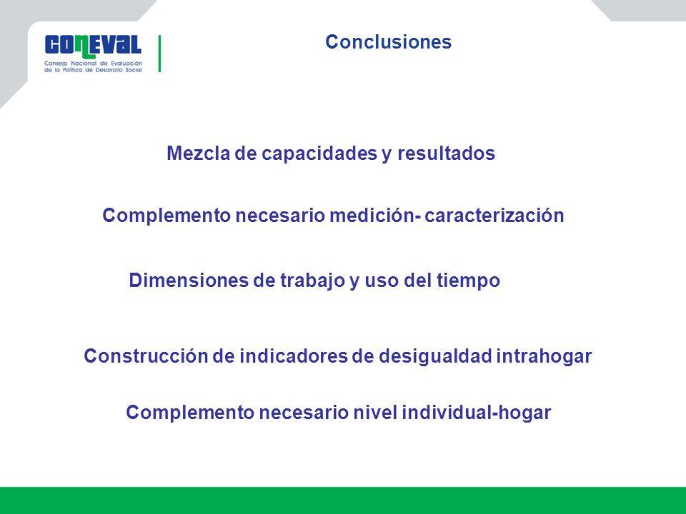 Conclusiones Mezcla de capacidades y resultados Construcción de indicadores de desigualdad intrahogar Dimensiones de trabajo y uso del tiempo Compleme
