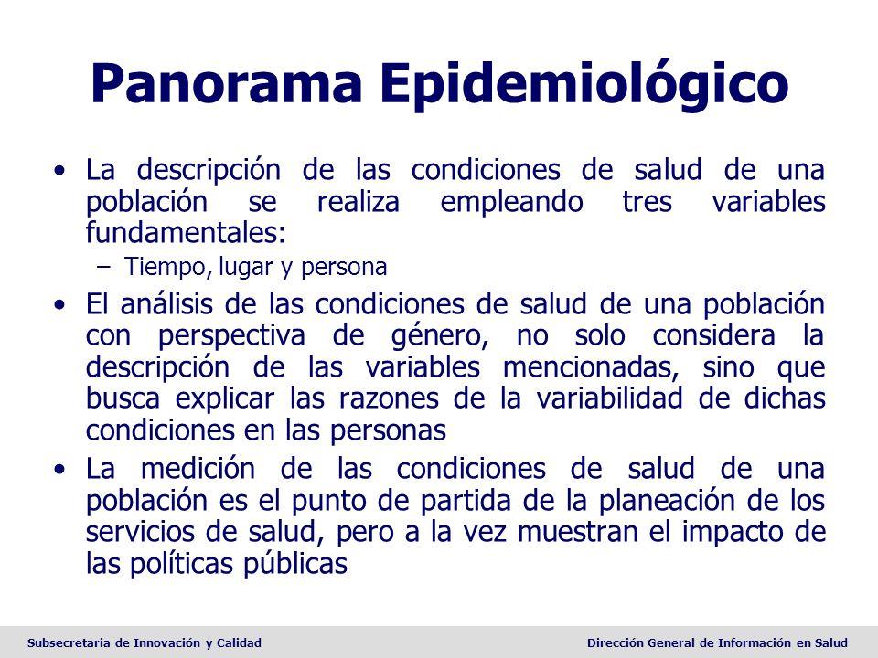 Subsecretaria de Innovación y CalidadDirección General de Información en Salud Panorama Epidemiológico La descripción de las condiciones de salud de u