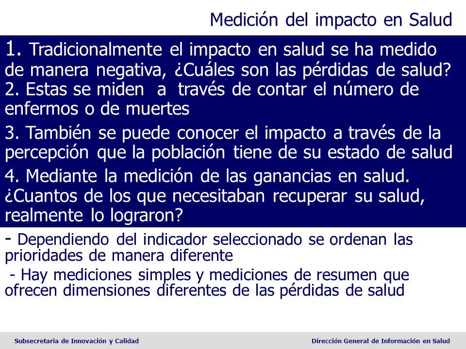 Subsecretaria de Innovación y CalidadDirección General de Información en Salud Medición del impacto en Salud - Dependiendo del indicador seleccionado