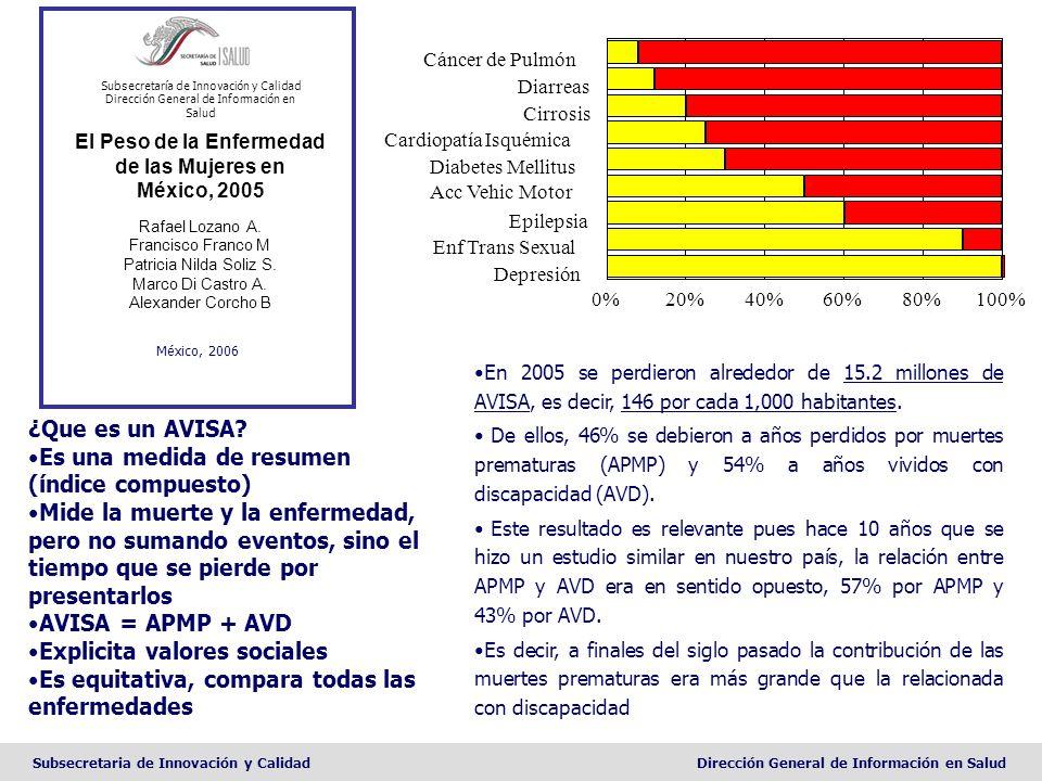 Subsecretaria de Innovación y CalidadDirección General de Información en Salud El Peso de la Enfermedad de las Mujeres en México, 2005 Rafael Lozano A