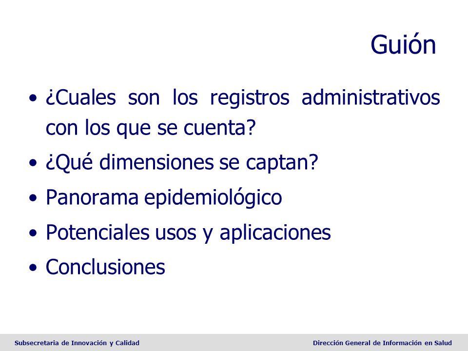 Subsecretaria de Innovación y CalidadDirección General de Información en Salud Guión ¿Cuales son los registros administrativos con los que se cuenta?