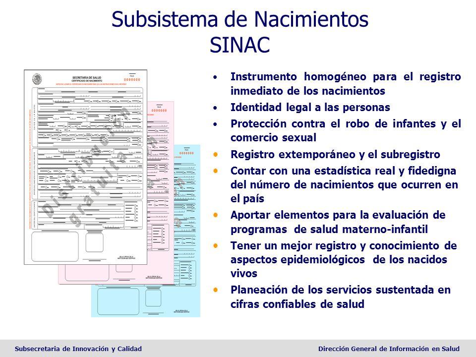Subsecretaria de Innovación y CalidadDirección General de Información en Salud Subsistema de Nacimientos SINAC Instrumento homogéneo para el registro