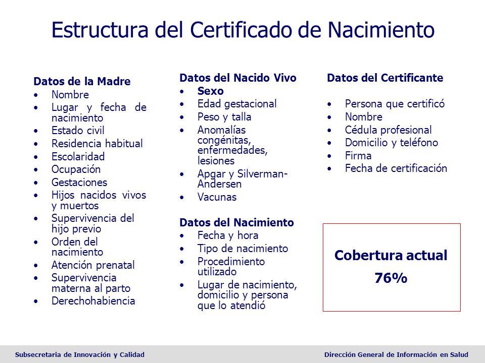 Subsecretaria de Innovación y CalidadDirección General de Información en Salud Estructura del Certificado de Nacimiento Datos de la Madre Nombre Lugar